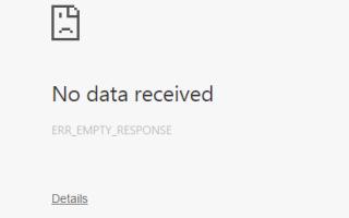 Как исправить ошибку ERR_EMPTY_RESPONSE в Google Chrome