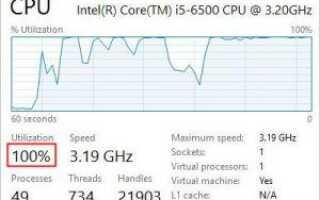 | Загрузка процессора 100% | Быстро и легко!