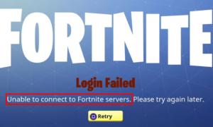 Невозможно подключиться к серверам Fortnite