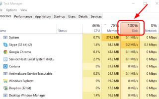 Windows 10 100% использование диска в диспетчере задач
