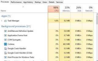 Высокая загрузка ЦП в Windows 10