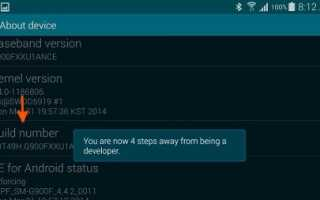 Как включить опции разработчика на Galaxy S5?