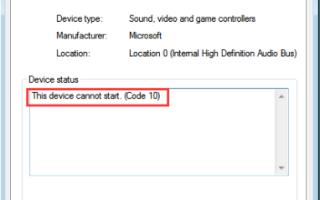Это устройство не может запустить код 10 ошибка