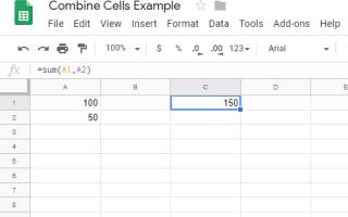 Как объединить клетки в Google Sheets
