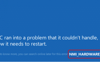 Решено: ошибка BSOD NMI_HARDWARE_FAILURE