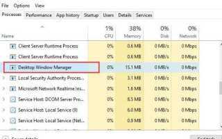 dwm.exe Диспетчер окон рабочего стола Высокая загрузка ЦП в Windows 10