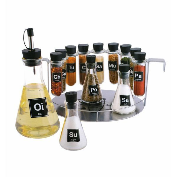 Химик's Spice Rack, 14 Piece Chemistry Spice Rack Set